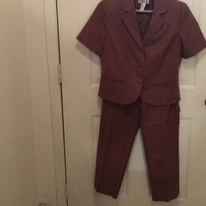 Brown lined jacket with pants to match